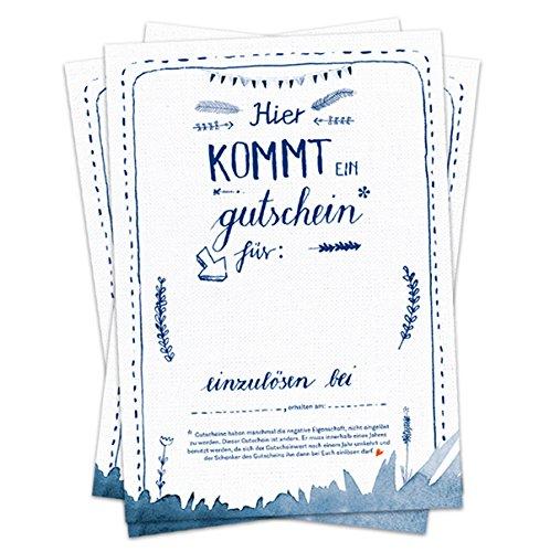 Hochzeitsspiel für Gäste - 52 Postkarten Hier kommt ein Gutschein - Geschenkgutscheine Partypiel zum selbst ausfüllen, Recyclingpapier Gutscheinkarten & Postkartengruß, Blau Weiß