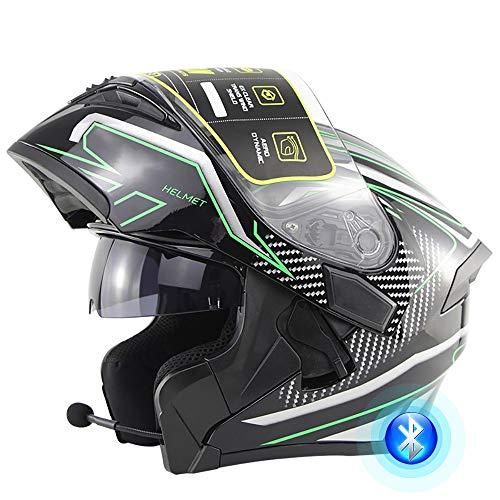 Casco De Moto Modular Bluetooth Integrado Casco De Moto con Doble Parasol Antivaho Certificación Universal Dot/ECE para Hombres Y Mujeres 53-62CM