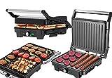 Kontaktgrill | 2.800 Watt | Elektrischer Tischgrill | Elektrischer Grill | Paninigrill | Sandwichtoaster | Sandwichmaker | Cool-Touch-Technologie | Fettauffangschale