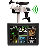 sainlogic Wetterstation Funk mit Außensensor, 8-in-1 Funk Wetterstation mit Wettervorhersage,Temperatur, Luftdruck, Luftfeuchtigkeit, Windmesser