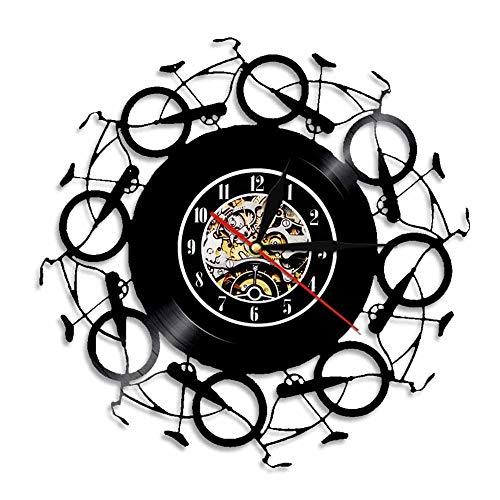 LKJHGU Bicicletas Retro Reloj de Pared Disco de Vinilo Vintage Reloj LP Bikers Bicicleta Arte de Pared Ciclismo Decoración del hogar Ciclista Bicicletas Amantes Regalo Retro