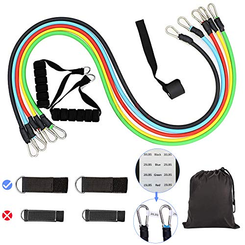 SoloVie 13 PCS Resistance Bands Set Stackable up to 100 lbs Workout Resistance Tubes Workout Exercise with Handles Ankle Straps Door Anchor Indoor and Outdoor Sports Fitness Home Gym Yoga (Style 1)