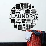 Lavandería Etiqueta de la pared Palabra Ropa Servicio de limpieza en seco Lavadora Vinilo Lavandería Arte decorativo
