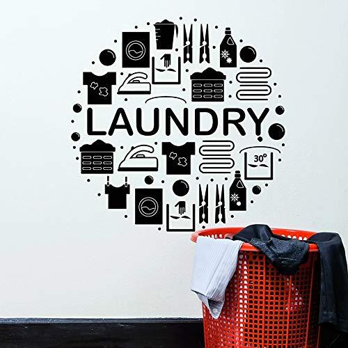 HGFDHG Lavandería calcomanías de Pared Ropa Servicio de Limpieza en seco Lavadora Vinilo Pegatinas para Ventanas Sala de lavandería decoración de Interiores Arte