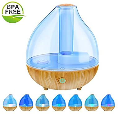 Ultrasonic Cool Mist Humidifier, ALIWELL 1.7L Air Humidifiers Essential Oil Diffuser for Office Home Bedroom Automatic Shut-Off Whisper Quiet Operation with 7 Color Soft Night Lights