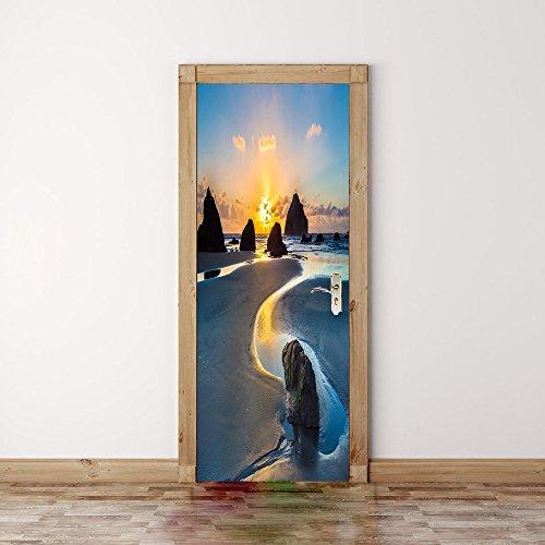 Deurbehang zelfklevend deurposter 3D effect fotobehang strand blik op de zee deur poster slaapkamer keuken woonkamer afneembaar waterdicht behang 80x210cm