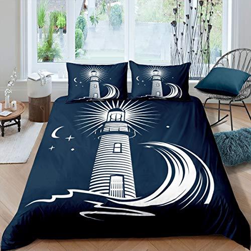 Juego de funda de edredón para niños y niñas, diseño de torre de vigilancia, color negro, blanco, con 2 fundas de almohada, 3 unidades