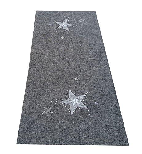 Tischläufer - STERN - anthrazit grau bestickt mit Sternen silber weiß besetzt mit Glaskristallen sehr schöne festliche Stickerei für Winter Weihnacht Tischdecke, Größe:40 x 90 cm