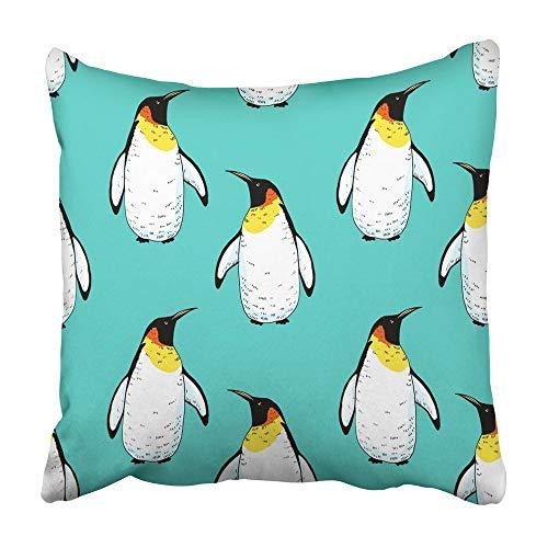 Fundas de cojín Dibujo de pingüino Divertido Animal Salvaje en el Dibujo temático Nieve Adorable Pico de bebé Cuerpo de pájaro 40X40 Cm Funda de cojín