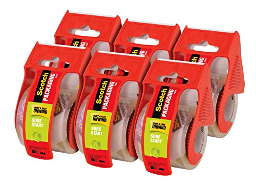 Scotch Sure Start Packaging Tape 188quotx 222 yd Designed for Packing Shipping and Mailing No Splitting or Tearing 15quot Core Clear 6 Dispensered Rolls 1456