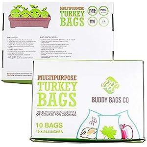 Buddy Bags Co Multipurpose Nylon Turkey Oven Bags – 19″ x 24.5″ – 10 Pack