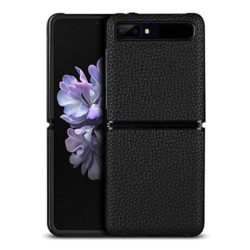 Case Fold Leer voor Samsung Galaxy Z Flip Opvouwbaar Scherm Slim Fit Schokbestendig Zakelijk Beschermhoes,Black,Galaxy Z Flip