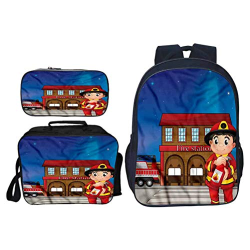 Backpack Set 3 Pieces Fireman Fire Station Extinguisher Waterproof Hiking Bag