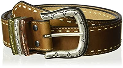 Ariat Women's Tan Stitch Edge Tri-Keeper Belt, brown, Small