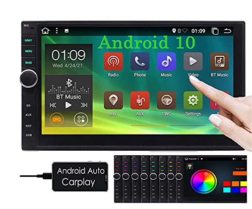 android auto radios Double Din Android Auto Car Stereo with Bluetooth Car Radio Carplay 2 Din Android 10 GPS Navigation System 7 Inch Video Player Support WiFi/4G/Mirrorlink/USB/SD/1080P in Dash Head Unit Touchscreen