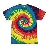 Colortone - Camiseta batik unisex «Swirl» arco iris XL