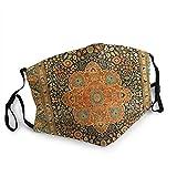 Antique Mohtashem Kashan Persian Rug Print Mask Anti-Fog Dust-Proof Adjustable Mask Black 1 Pcs