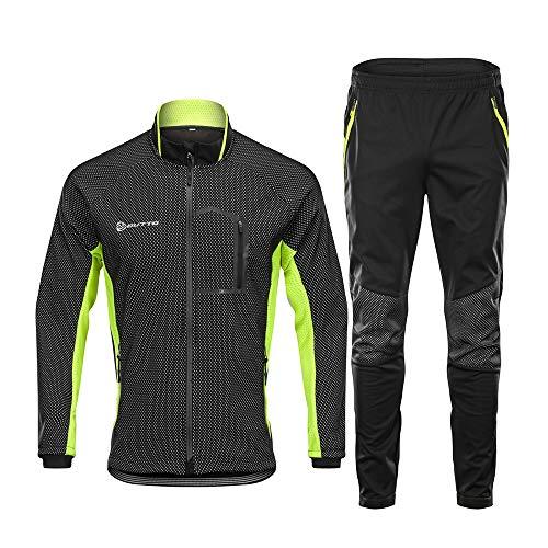 d.Stil Herren Fahrradbekleidung Set Langarm Fleece UV- Schutz Radjacke + Fahrradhose M - 3XL (Schwarz-Grün, M)
