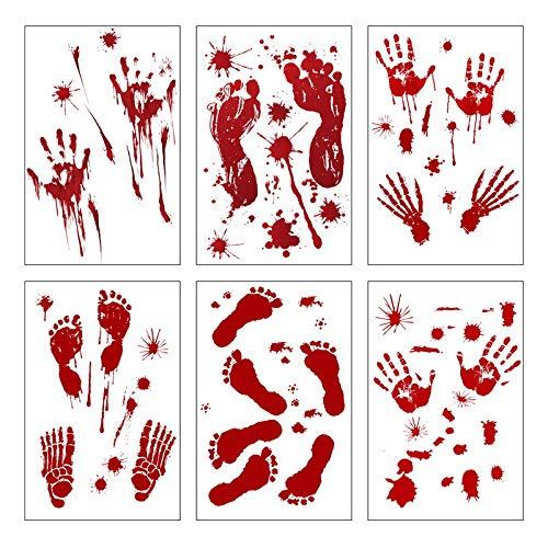 Halloween Blutige Aufkleber, 6 Blätter Halloween Schaurig Blutige Sticker Handabdrücke Fußabdrücke Fensteraufkleber Realistisch Sticker für Halloween Party Dekorationen