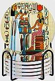GUVICINIR Juego de 6 Posavasos de cerámica Absorbente con Base de Corcho,Apto para Tipos de Tazas,Elementos de la Historia del Antiguo Egipto Antiguo