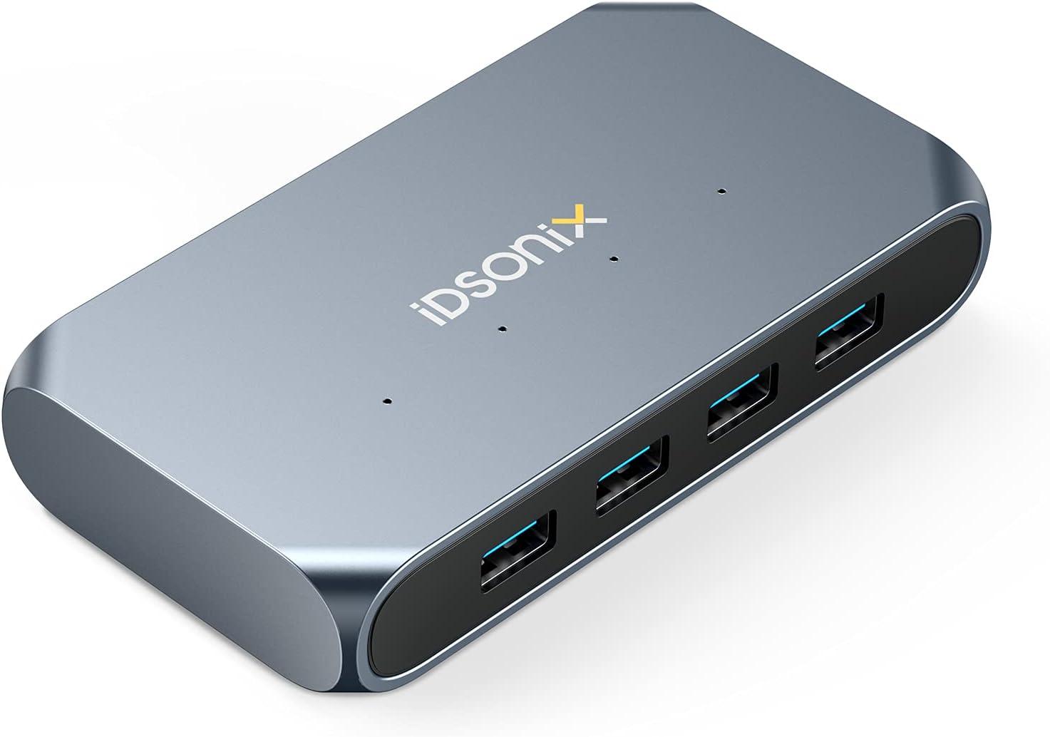 iDsonix USB Hub, 4-Port 12V / 2A Powered USB 3.0 Hubs, 5Gbps Data Transfer USB-A Hub, Aluminum Alloy USB Data Hub for Laptop, MacBook, Mac Pro, iMac, Surface Pro, PC, HDD, SSD, Printer, Camera, ect.