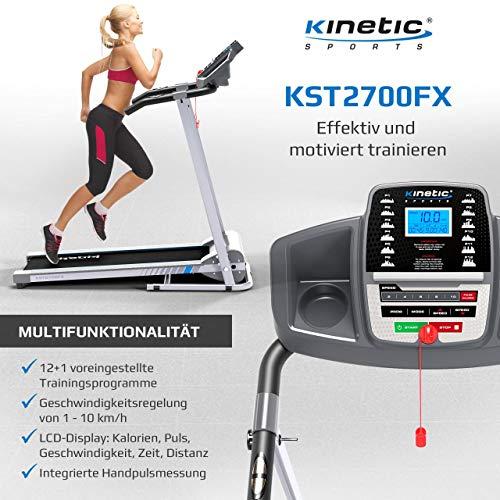 Kinetic Sports KST2700FX Laufband klappbar elektrisch 500 Watt leiser Elektromotor, 12 Pogramme, bis 120 kg, GEH- und Lauftraining, Tablethalterung, stufenlos einstellbar bis 10 km/h - 4
