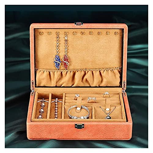TEAYASON Caja de Joyería para Mujer Caja Organizadora de Joyería de Doble Capa de Cuero Caja de Anillo Pulsera Collar Caja de Joyería Caja,Naranja