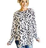 Tickled Teal Women's Long Sleeve Leopard Knit Casual Loose Sweater Outwear (1X, Leopard Print)