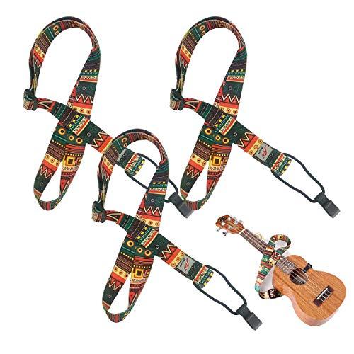 Liwein Tracolla Ukulele,3 Pezzi Regolabile Tracolla Chitarra con Gancio Bambini Imbragatura per Collo Universale Cinghia Stile Maya Hawaiano Nylon Cinturino Classica Strumento