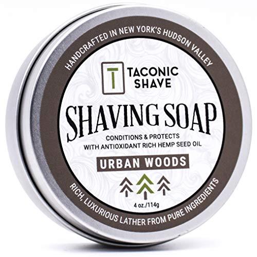 Taconic Shave Friseurladen Qualität Stadt Woods Rasierseife mit Antioxidans-reichem Hanfsamenöl - mit Noten von Zeder, Bergamotte und Tabak
