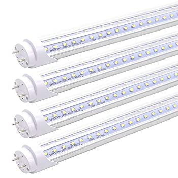 2FT LED Tube Lights 24  15W 30W Fluorescent Bulb Replacement  V Shaped LED Tube Light Fixture Two Pin G13 Base 6000K Works Without Ballast Dual-Ended Powered Clear Cover