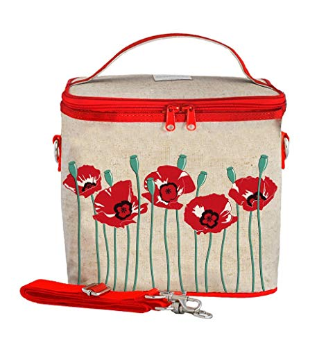 SoYoung Large Cooler Bag - Adult Lunch, Raw Linen, Eco-Friendly, Retro and Easy to Clean - Red Poppy