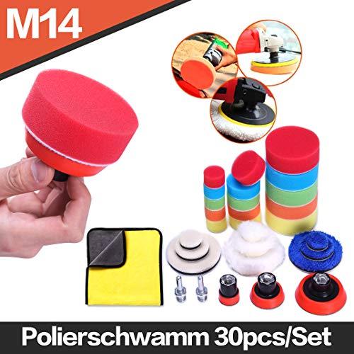 Lucky Goddness Polierschwamm 30pcs/Set für Auto Polieren, 1.2/2/3 Polierpads Polierscheiben Gelten Poliermaschine M14 Bohrer Adapter