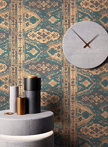 NEWROOM Tapete Petrol Vliestapete Teppich - Teppichmuster Vintage Braun Teppichoptik Orientalisch Persisch Arabisch inkl. Tapezier-Ratgeber