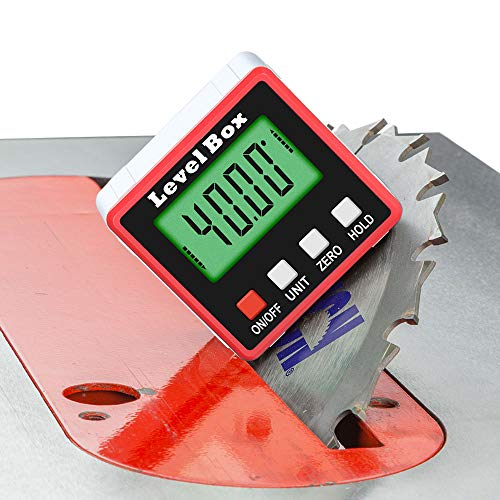Momenturn Level Box Digital Angle Finder Tool -Miter Gauge Inclinometer -Mini Table Saw Accessories -Magnetic Protractor -For Woodworking, Carpenters Square, Machinist, Bevel Indicator, Welding, Fence