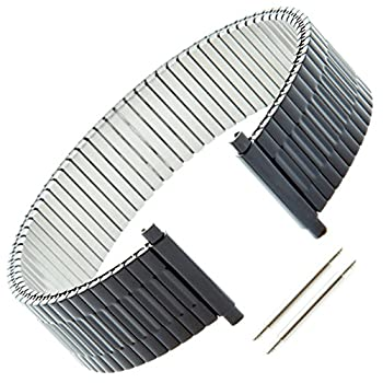 Gilden Custom Length Gents Expansion 17-22mm Black Stainless Steel Watch Band 552-BL