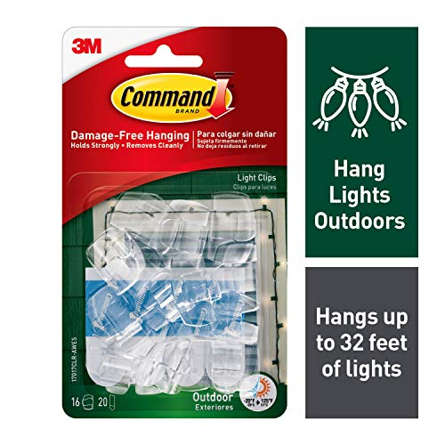 Command Outdoor Light Clips, Clear, 16-Clip, 4-Pack (64 Clips Total)