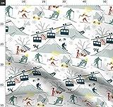 Bewölkt, Natur, Verspielt, Ski Stoffe - Individuell