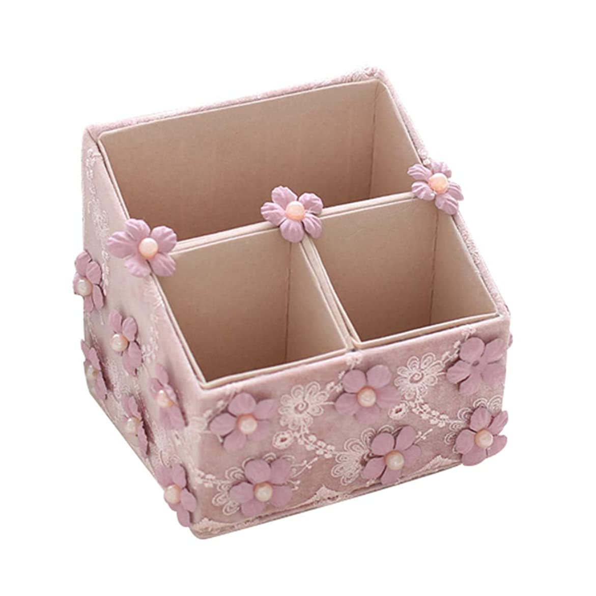 更新見出しおばさん化粧収納ボックス仕上げボックス生地レースデスクトップ収納ボックス女の子ハートリモコン収納ボックス最高の贈り物 (Color : BLUE, Size : 15*14*13CM)