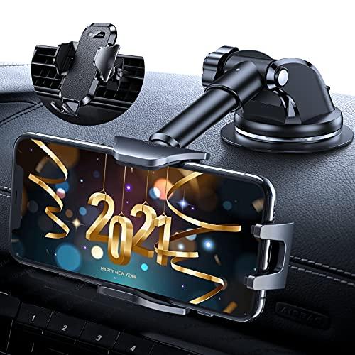DesertWest Handyhalterung Auto [2021 Ultrastabilität] Handyhalter fürs Auto Saugnapf & Lüftung 4 in 1 Silikonschutz & 360° Drehbar Universale Kfz Handyhalterung für Alle Handys & Autos iPhone Samsung