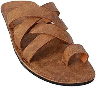 MARDI GRAS Pure Leather Slipper in TPR Sole for Men's