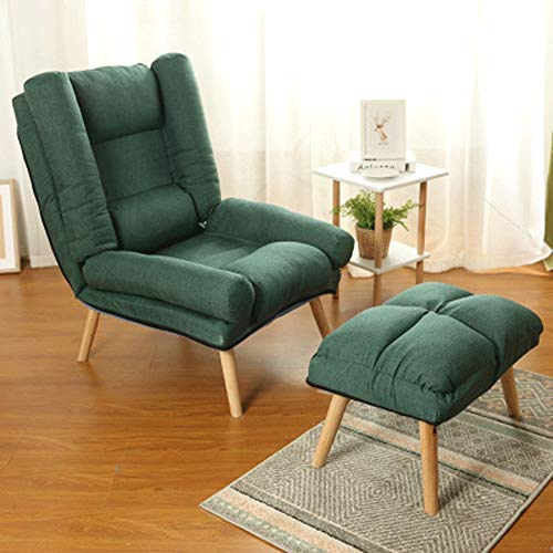 WOF Adjustable Lazy Single Sofa Stuhl- Faltbare BreastfeedingCouch Betten Sessel mit Fußbank (beige) (Color : Green)