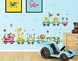 Rainbow Fox Treno con Cute Animals Leone Elefante Giraffa Scimmia Coniglio TigerWall Adesivi, Decalcomanie Casa dei Bambini della Scuola Materna Rimovibile Wall Stickers / Parete / Wall Decoration