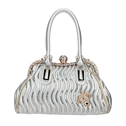 Bonjanvye Butterfly Spherical Crystal Ball Hand Bags for Women Pu Leather Purse and Bags Silver