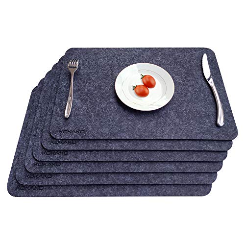 KOKAKO Environmental Felt Placemats for Dining Table Lightly-Heat Insulated Placemat Non Seeping Absorbent Place Mats Kitchen Table Mats,Set of 6(Dark Gray)