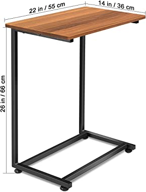 Homemaxs C Table Sofa Side Table, End Snack Table with Wood Finish and Metal Frame, Couch Tables That Slide Under for Living