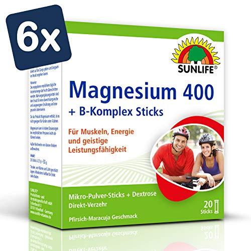 SUNLIFE Magnesium 400 + B-Komplex Sticks: für Muskeln, Nerven und mehr Energie, 20 Sticks à 2,5g - 6er Pack
