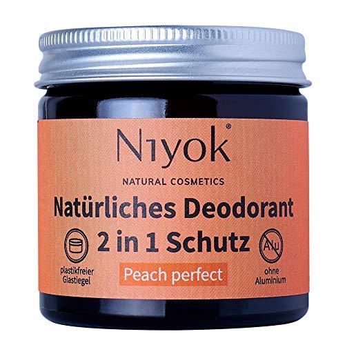 Niyok® 2 in 1 Deo ohne Aluminium Antitranspirant Deocreme Deodorant Creme | Damen | Herren starkes Schwitzen | aluminiumfrei - Peach perfect – 40 ml