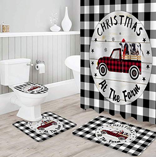 Fantasy Staring 4 Piece Shower Curtain Set with Non-Slip Rug, Toilet Lid Cover and Bath Mat, Christmas at The Farm Red and Black Buffalo Plaid Truck Milk Cow Durable Shower Curtain Set for Bathroom