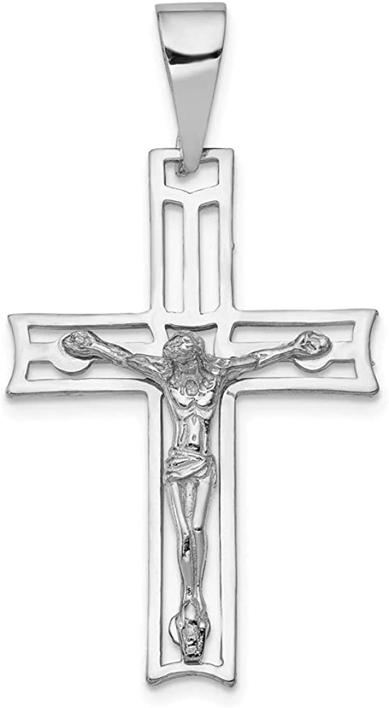 low-pricing 14k Max 87% OFF White Gold Crucifix Pendant 24mm style C2773 49mm